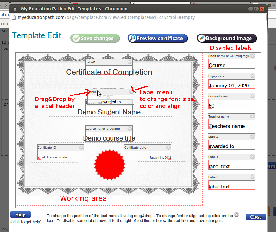 Myeducationpath certificates template editor manual template editor yelopaper Choice Image